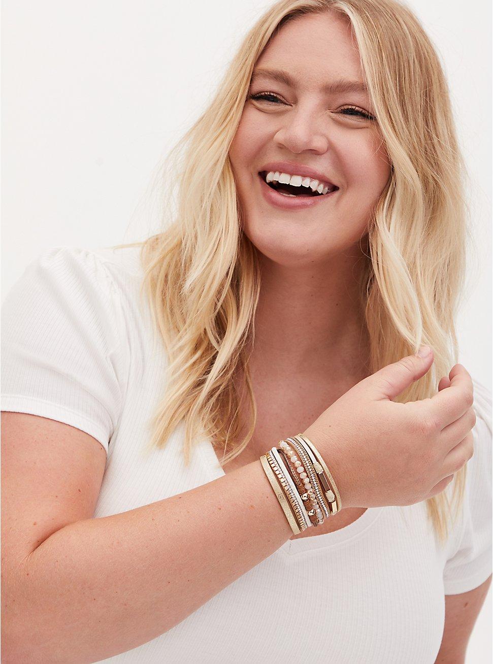 Gold-Tone Chain & Rhinestone Magnetic Bracelet, GOLD, hi-res