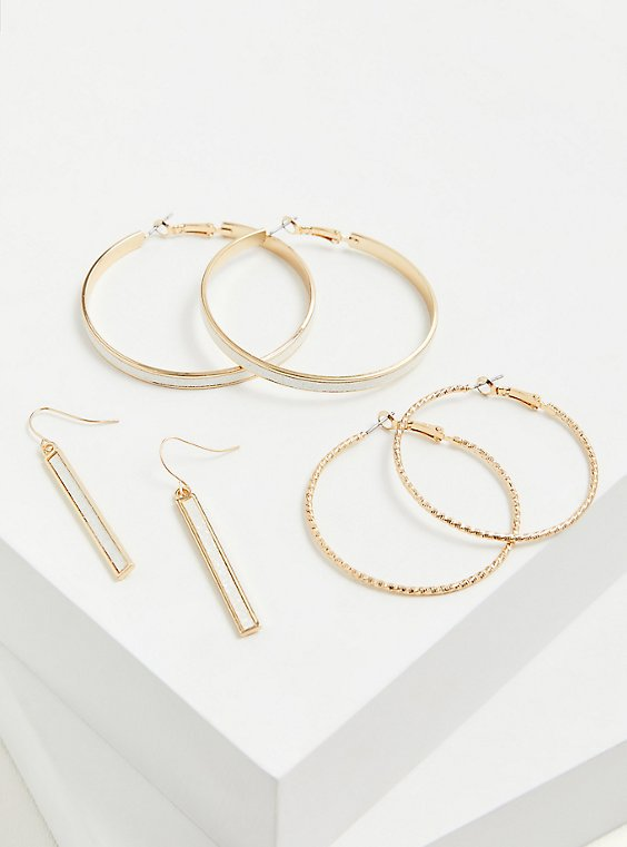 Gold-Tone Glitter Hoop Earrings Set - Set of 3, , hi-res