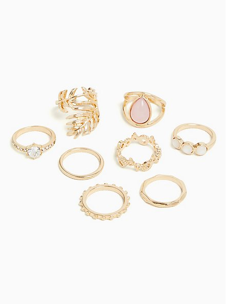 Gold-Tone Leaf Ring Set - Set of 8, ROSE GOLD, alternate