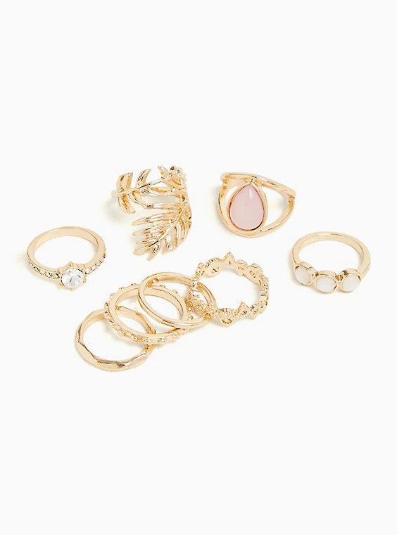 Gold-Tone Leaf Ring Set - Set of 8, ROSE GOLD, hi-res