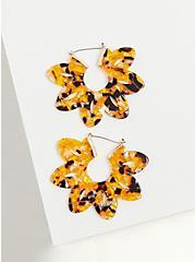 Tortoiseshell Resin Floral Statement Earrings, , alternate