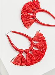Red Wrap Tassel Teardrop Earrings, , hi-res