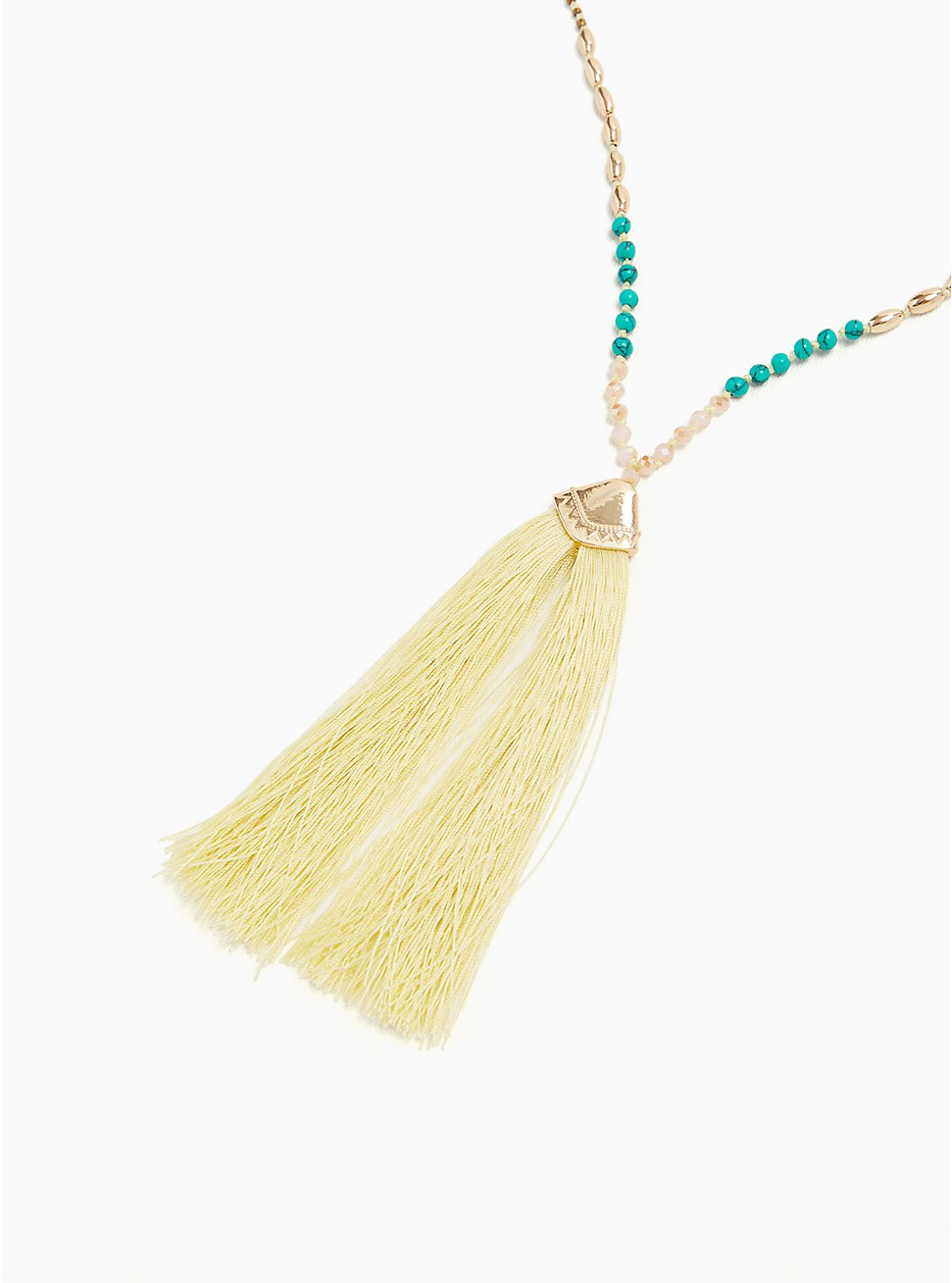 Multi Beaded Tassel Pendant Necklace , , hi-res
