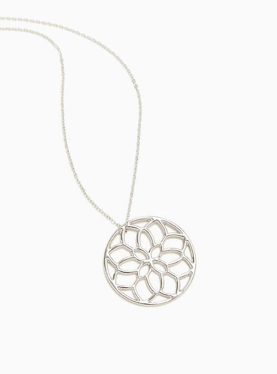 Silver-Tone Floral Cutout Pendant Necklace, , hi-res