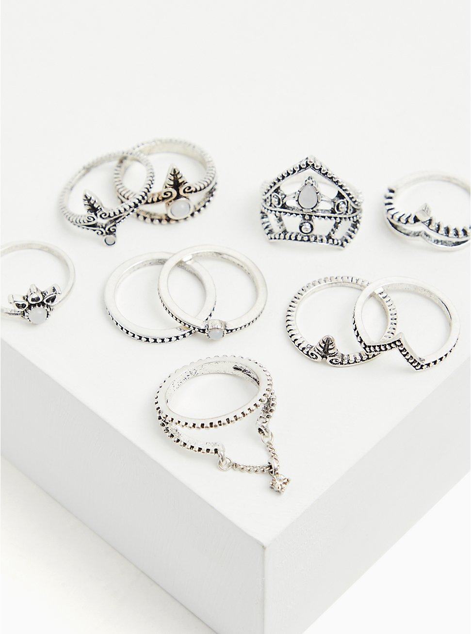 Silver-Tone Burnished Ring Set - Set of 10, SILVER, hi-res