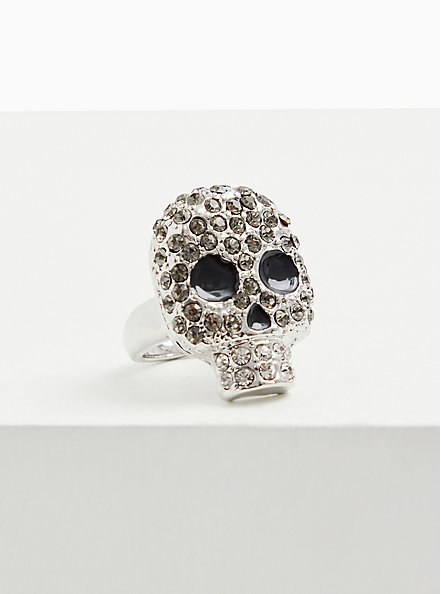 Silver-Tone Rhinestone Pave Oversized Skull Ring, SILVER, alternate