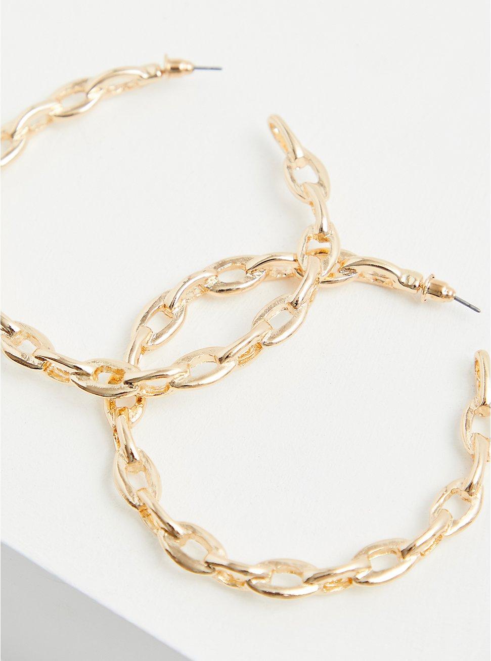 Gold-Tone Link Hoop Earrings, , hi-res