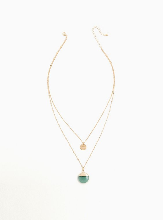 Gold-Tone Faux Stone Pendant Layered Necklace, , hi-res