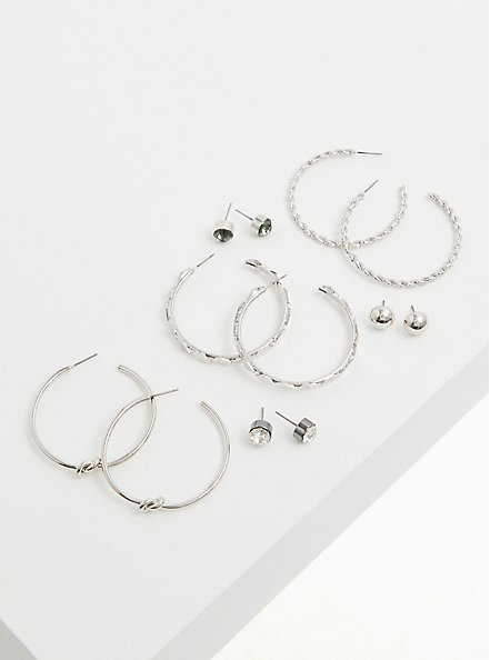 Silver-Tone Faux Stone Stud & Hoop Earrings Set - Set of 6, , alternate