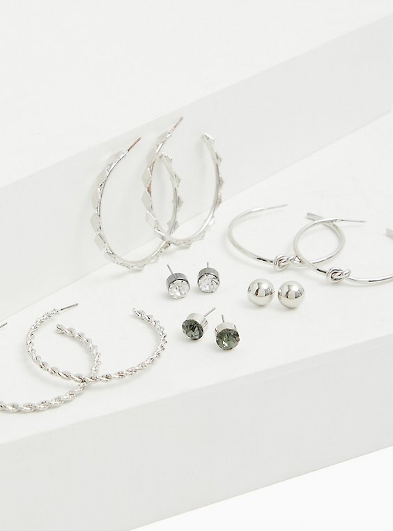 Silver-Tone Faux Stone Stud & Hoop Earrings Set - Set of 6, , hi-res