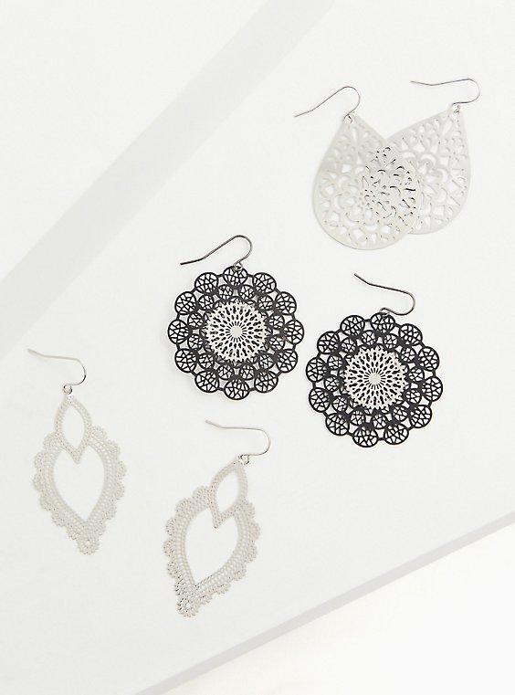 Plus Size Black & Silver-Tone Filigree Earrings Set - Set of 3, , hi-res