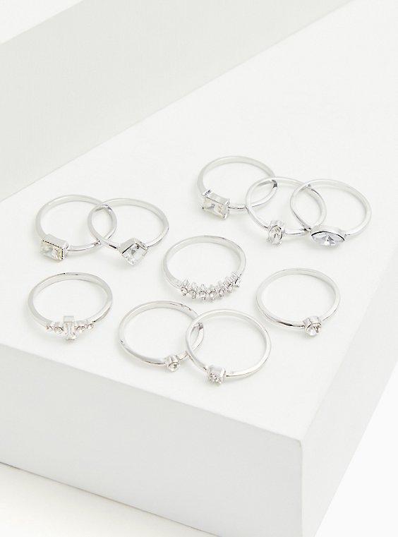 Plus Size Silver-Tone Rhinestone Ring Set - Set of 10, , hi-res