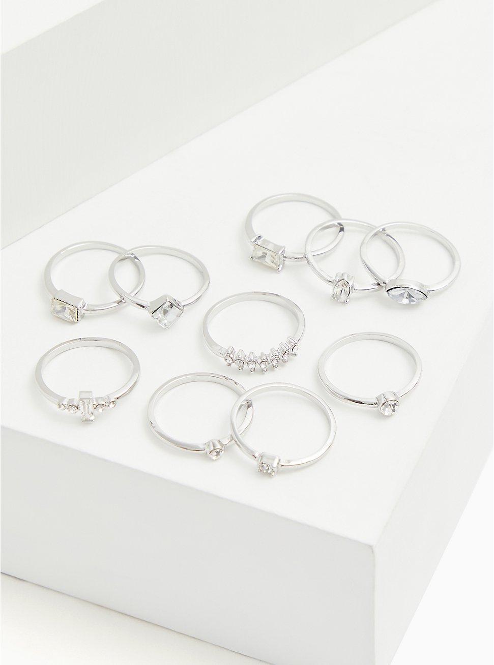 Plus Size Silver-Tone Rhinestone Ring Set - Set of 10, SILVER, hi-res