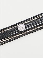 Black Faux Leather & Rhinestone Magnetic Bracelet, BLACK, alternate