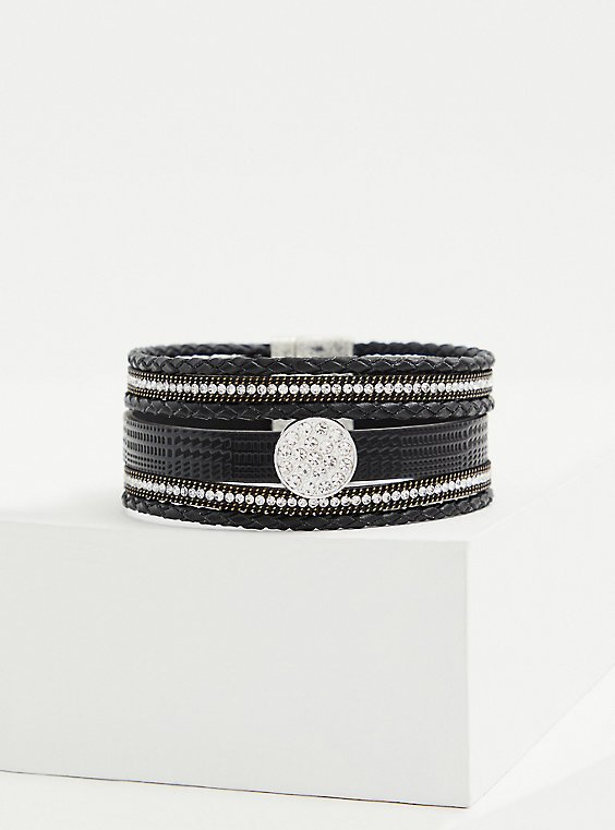 Black Faux Leather & Rhinestone Magnetic Bracelet, , hi-res