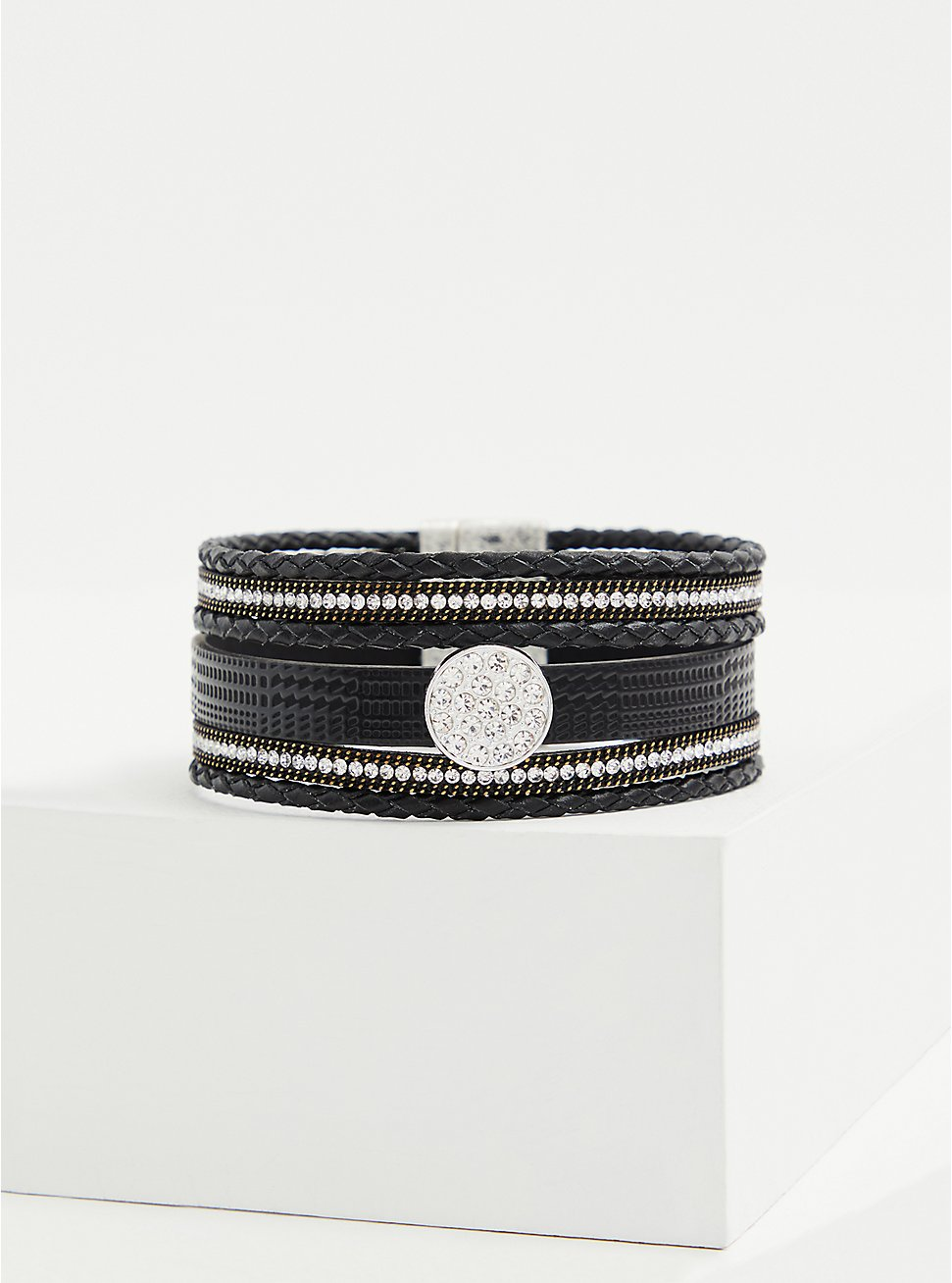 Black Faux Leather & Rhinestone Magnetic Bracelet, BLACK, hi-res