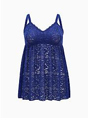 Plus Size Sapphire Blue Floral Lace Babydoll, DEEP WATERS BLUE, hi-res