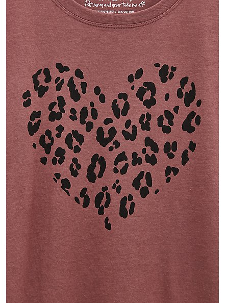 Leopard Heart Slim Fit Crew Tee - Walnut , ROSE BROWN, alternate