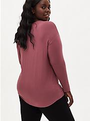 Super Soft Blessed Walnut Tie-Front Long Sleeve Tee, ROSE BROWN, alternate