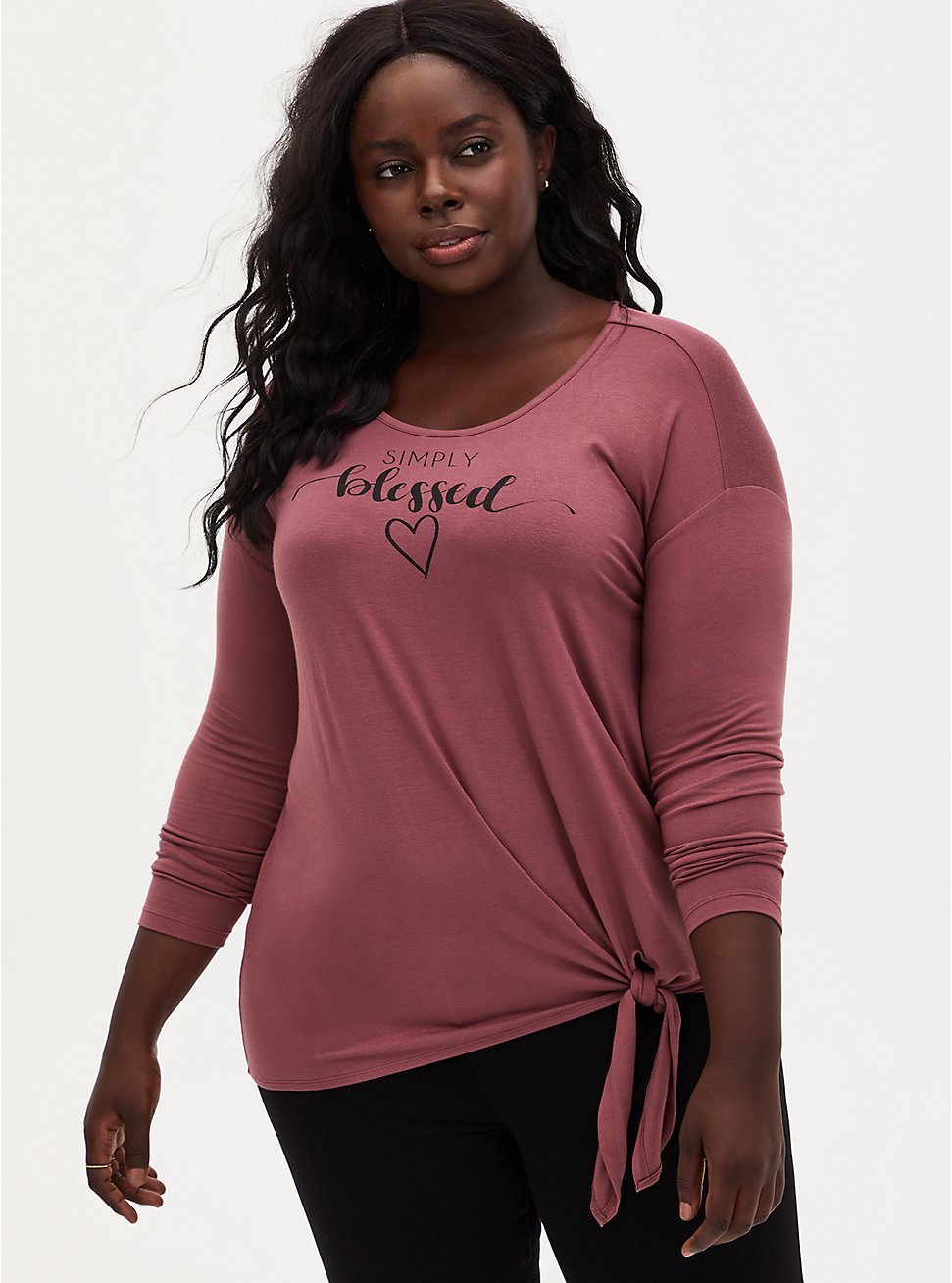 Super Soft Blessed Walnut Tie-Front Long Sleeve Tee, ROSE BROWN, hi-res