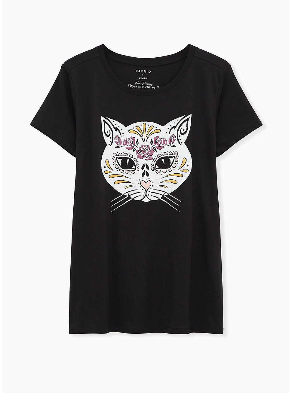 Muerta Cat Slim Fit Crew Tee - Black, DEEP BLACK, hi-res