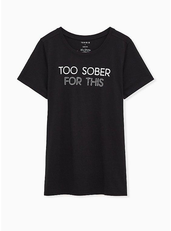 Too Sober For This Slim Fit Crew Tee - Black, , hi-res