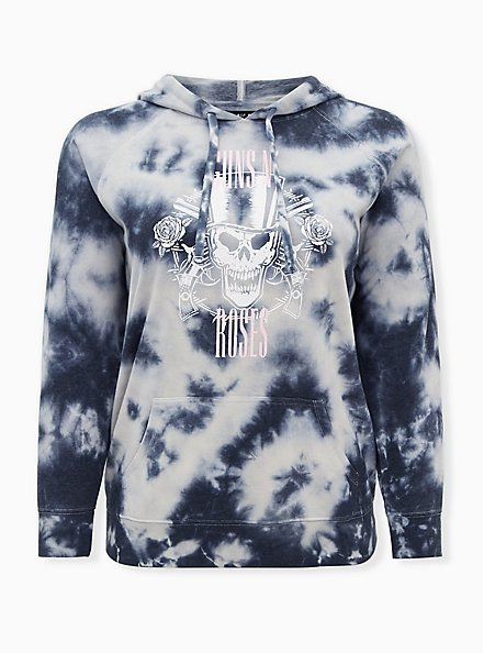 Guns  N' Roses White & Grey Tie-Dye Fleece Hoodie, BRIGHT WHITE, hi-res