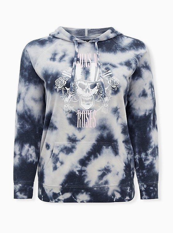 Guns  N' Roses White & Grey Tie-Dye Fleece Hoodie, BRIGHT WHITE, ls