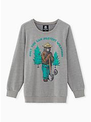 Smokey the Bear Grey Crew Neck Sweatshirt, MEDIUM HEATHER GREY, hi-res