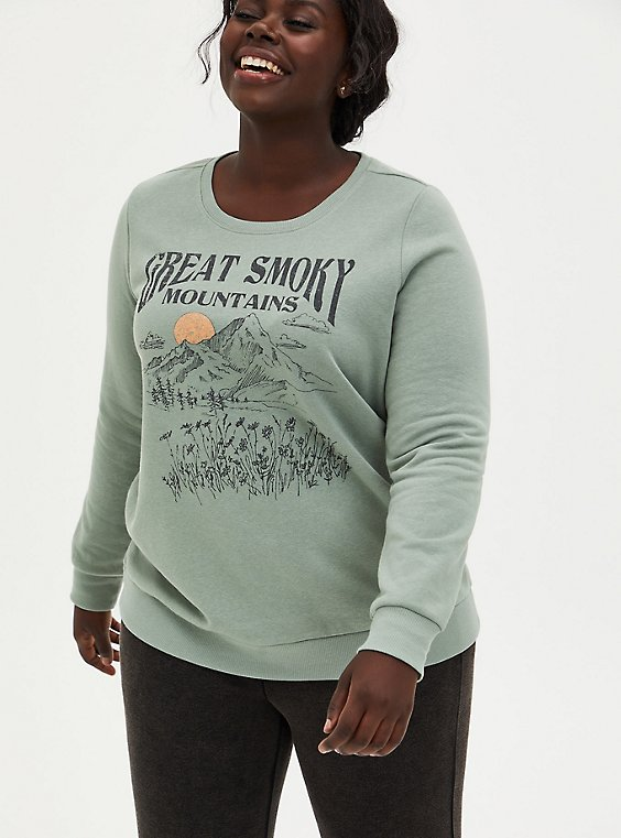 Great Smokey Mountains Sage Green Fleece Sweatshirt, , hi-res