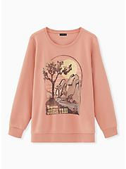 Joshua Tree Dusty Coral Fleece Sweatshirt, , hi-res