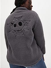 Disney The Nightmare Before Christmas Dark Grey Sherpa Half-Zip Pullover, GREY, hi-res