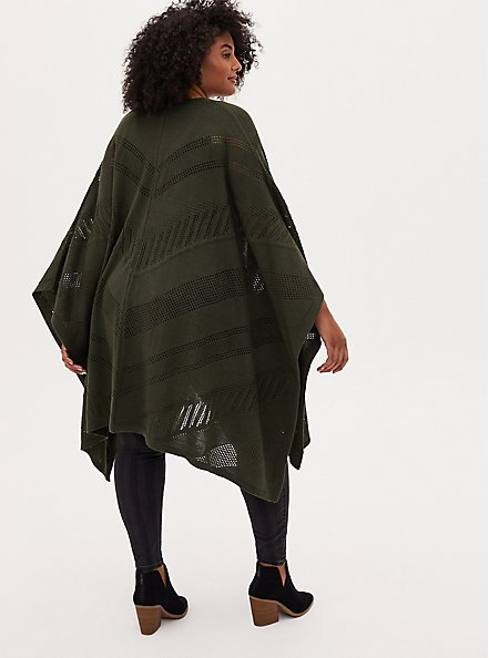 Olive Green Chevron Pointelle Ruana, , alternate