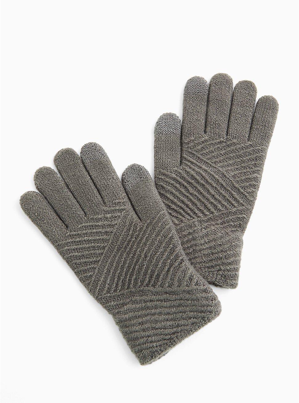 Charcoal Grey Texting Gloves, , hi-res