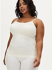 Plus Size White Scoop Neck Second Skin Cami, CLOUD DANCER, hi-res