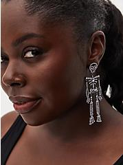 Silver-Tone Rhinestone Oversized Skeleton Earrings, , hi-res