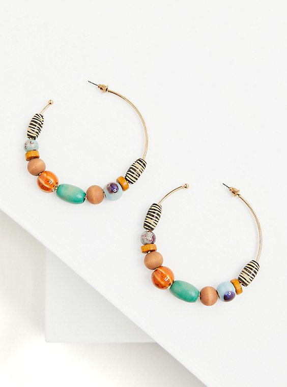 Plus Size Multi Wooden & Faux Stone Hoop Earrings, , hi-res