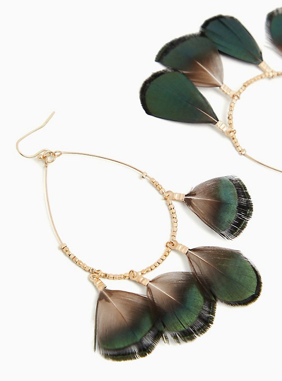 Gold-Tone & Green Ombre Feather Teardrop Earrings, , hi-res