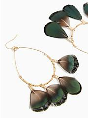 Plus Size Gold-Tone & Green Ombre Feather Teardrop Earrings, , hi-res