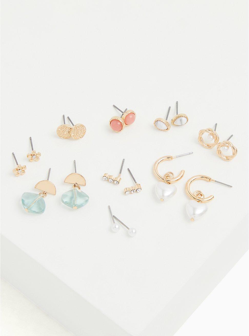 Gold-Tone Faux Pearl Stud & Huggie Hoop Earrings Set - Set of 9, , hi-res