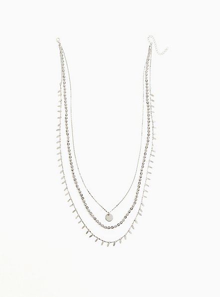 Plus Size Silver-Tone Coin Layered Necklace, , alternate