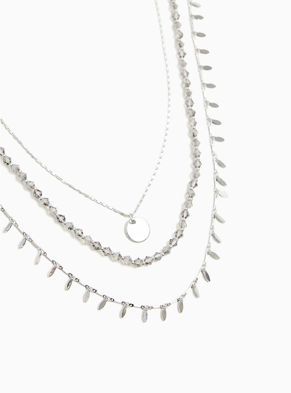 Plus Size Silver-Tone Coin Layered Necklace, , hi-res
