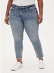 High Rise Straight Jean - Light Wash with Fray Hem, MOONSHINE, hi-res