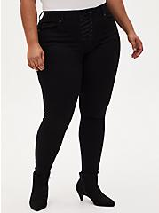 Bombshell Skinny Jean - Super Soft Black with Lace-Up Fly, BLACK, hi-res