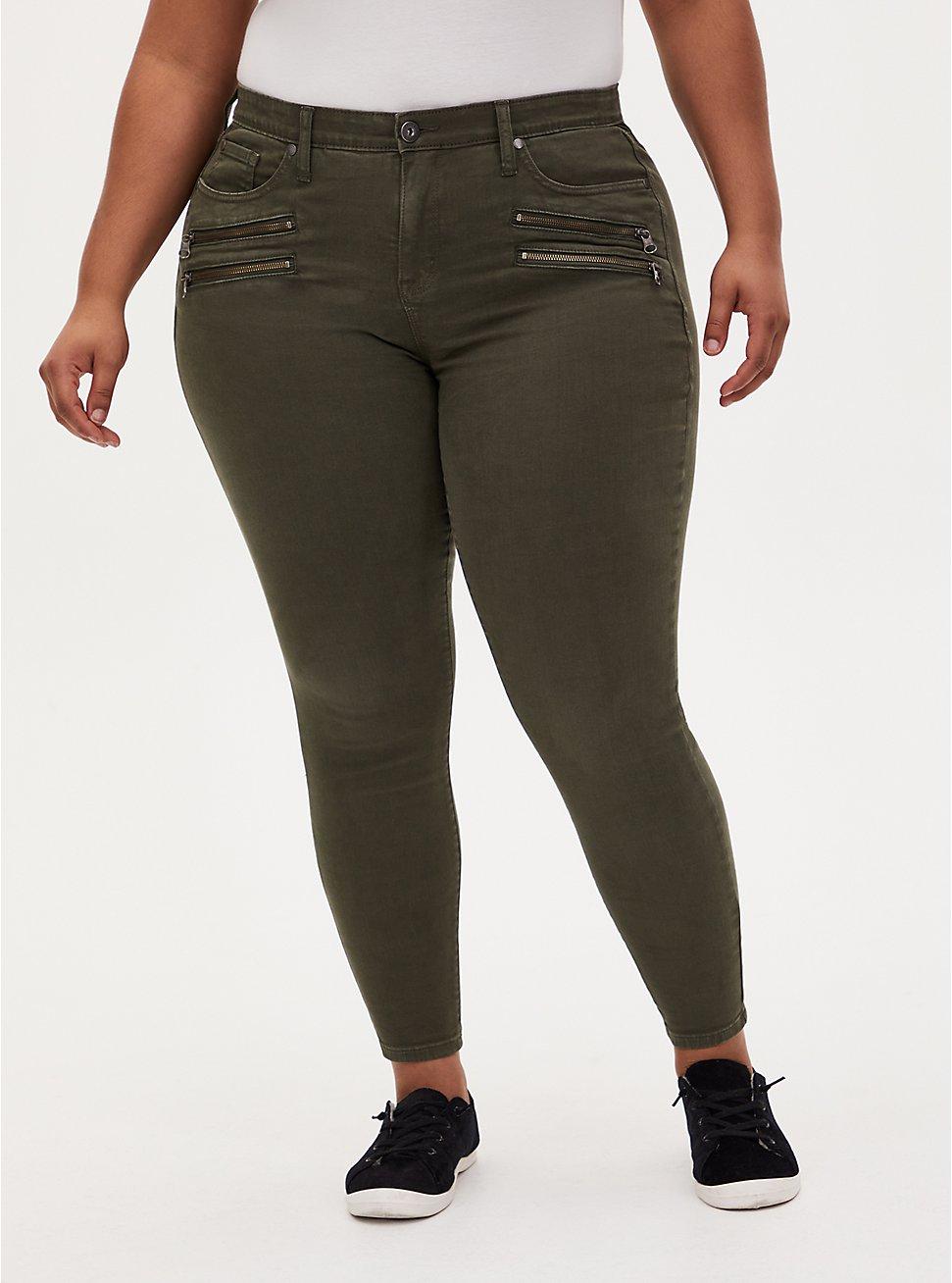Sky High Skinny Jean - Super Soft Olive, DEEP DEPTHS, hi-res