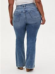 Triple Waistband Flare Jean - Super Soft Vintage Stretch ECO Light Wash , FRESH AIR, alternate