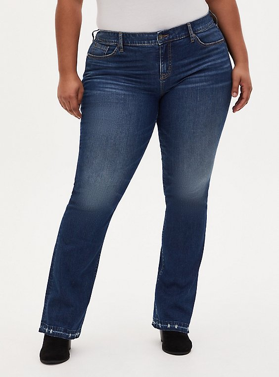 Mid Rise Slim Boot Jean- Vintage Stretch Medium Wash with Hem Detail, PRIMO, hi-res