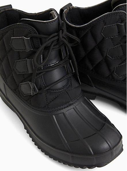 Black Quilted Nylon Duck Boot (WW), BLACK, alternate