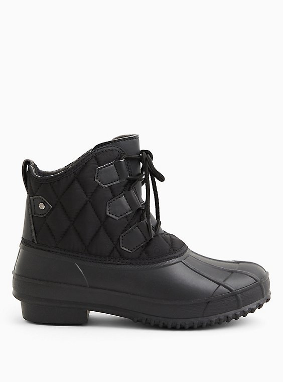 Black Quilted Nylon Duck Boot (WW), BLACK, hi-res