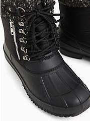 Black Nylon Sweater-Trimmed Duck Boot (WW), BLACK, alternate